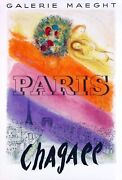 Les Champs Elysandeacutees By Marc Chagall - Very Rare Poster