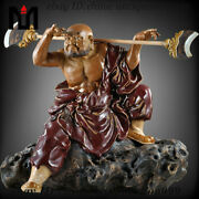Collect Chinese Color Porcelain Lu Zhishen Flower Buddhist Monk Ornament Statue