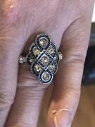 Pretty 1920s Mid-century Style Old Mine Cut Cz And Blue Sapphire 925 Silver Ring