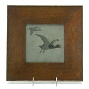 Marblehead Pottery Flying Goose Decorated Arts And Crafts Matte Gray Trivet Tile