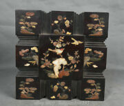 Old Chinese Redwood Inlay Shell Carving Plum Blossom Bird Storage Jewelry Box