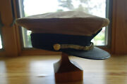 Wwii Usn Cotton Khaki Cap Cover Combination Gold Braid Brass Buttons