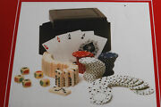 Poker Gift Set Playing Card Dominos Poker Chips Dice Leather Box