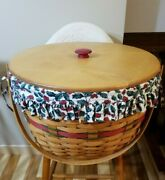 Longaberger 1994 Holiday Hostess Red Sleigh Bell Basket W/lid, Protector, Liner