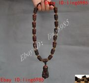 Old Tibetan Buddhism Ox Horn Carved Exorcism Prayer Rosary Bead Necklace