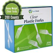 200 Clear Plastic Forks Heavy Duty Disposable Utensil Silverware For Party