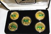 John Deere Collector Coin Set Of 5 1 Troy Oz .999 Fine Silver A B G 6400 7800