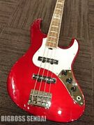 New Grassroots Electric Bass Guitar G-am-55ms/r Candy Apple Red With Soft Case
