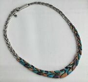 Native American Southwest Sign Sterling Silver Inlay Turquoise Choker Necklace