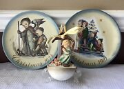 Lot Of 3 Hummel Christmas Annual Plates 1974 And 1981 Tree Ornament