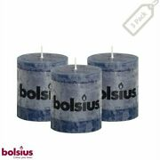 Rustic Blue Pillar Candles Small 2.75x3.25 Unscented 3 Pack Home Wedding Decor