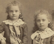 Young Curly Haired Sisters In Matching Dresses. Cabinet Card. Chicago, Ill.