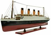 Rms Titanic Wooden Model On Display Stand 60cm