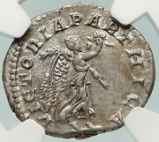 Macrinus Authentic Ancient 218ad Victoria Parthica Silver Roman Coin Ngc I84936