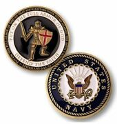 U.s. Navy Usn   Put On The Whole Armor Of God   Gold Plated Challenge Coin