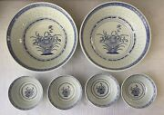 Lot Of 6 Vintage Chinese Porcelain Serving And Individual Bowls, Blue And White