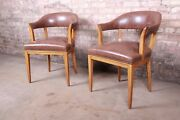 Edward Wormley For Dunbar Janus Collection Leather And Mahogany Armchairs Pair