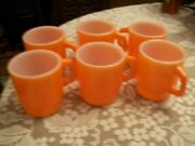 6 Vintage Anchor Hocking Flame Orange Stackable Mugs Coffee Cups D Handle 312