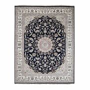 7and03910x10and039 Wool And Silk 250 Kpsi Navy Nain Hand Knotted Oriental Rug G49959