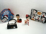 Betty Boop Lot 5tin 2 Figurines-sharpenerhandbag Cosmetic Christmas Vintage