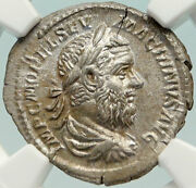 Macrinus Genuine Ancient 217ad Silver Roman Coin Fides Ngc Ms Mint State I85147