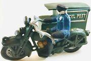 Cast Iron Toy Parcel Post Side Car Police Motorcycle. Read Carefully