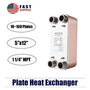 316l Stainless Steel Brazed Plate Heat Exchanger-pure Copper 5x12 11/4 Mpt