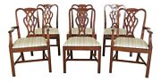 Lf49514ec Set Of 6 Baker Chippendale Mahogany Dining Room Chairs