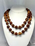 Antique Chinese Necklace 38 Carved Wood Hediao Nut Seed Pit Beads