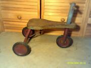 Vintage Antique Childs Toy Push Tricycle 16 Inches Tall 20 Inches Long Metal