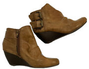 Blowfish Bug Brown Wedge Heel Ankle Boot Size 6.5 Zip Close Decorative Buckle