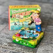 1950s Vintage Rare Mechanical Fishing Boy Linemar Wind-up Toy W/ Box