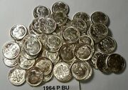Nice Roll Of 50 1964 P Brilliant Uncirculated Roosevelt Dimes 90 Silver