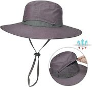 Cooling Hat Wide Brim Sun Hats Safari Boonie Fishing Cap Removable Bucket Crown