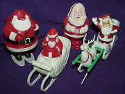 Lot 3- 4 Vintage Hard Plastic Santa Candy Containers Reindeer Sleigh Snowshoe