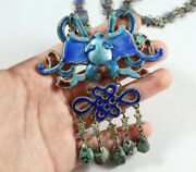 Antique Chinese Enamel Bat And Chinese Knot With Turquoise Necklace