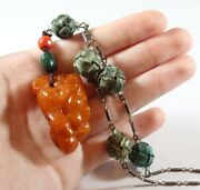 Antique Silver Chinese Carved Monkey Natural Amber And Turquoise Necklace