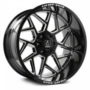 4 New 22x12 Axe Off Road Nemesis Black Milled Wheels 8x6.5 Dodge Chevy 8x165.1