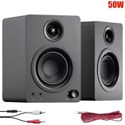 Pair 50w Active Powered Computer Speakers Wired Desktop Pc Laptop 3.5mm Aux Rca