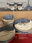 """Thomoson Pottery """"snowman"""" 16 Piece Dinner Set Excellent Holiday Christmas"""