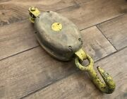 Vintage Wood Cast Iron Western Block Co. Single Tackle Pulley Hook