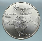 1973 Canada Queen Elizabeth Ii Olympics Montreal World Map Silver 5 Coin I85164