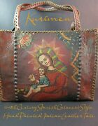 Cusco School-1 Of A Kind-hand Oil Painted-spanish Colonial-italian Leather Tote
