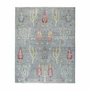 8'x9'10 Folk Art Willow And Cypress Tree Design Peshawar Hand Knotted Rug G54815