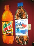 2 Bottle Signs Mountain Dew Live Wire Pepsi Edge 44 1/2 X 14 1/2 Discontinued
