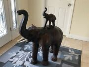 Antique Stretched Leather Elephant Statue W/baby