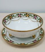 Antique 1911- 1921 Nippon Japan Hand Painted 3 Footed Bowl And Plate Gold Floral