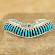 Navajo Native American Sterling Silver Turquoise Row Cuff Bracelet Sz 6 1/4andrdquo S