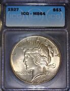 1927 Peace Silver Dollar Icg Ms64, Tougher Date,issue Free