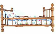 Toy Doll Furniture Crib Turned And Curved Wood Gold Brass Studs